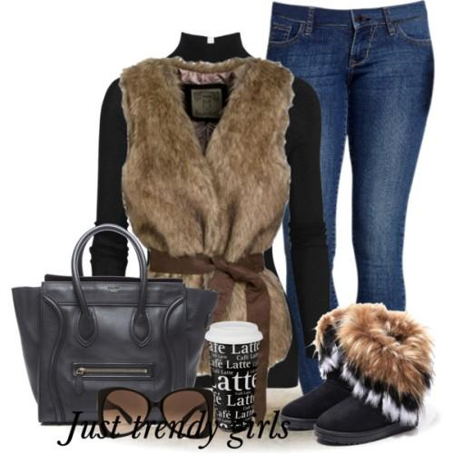 brown fur vest outfit,