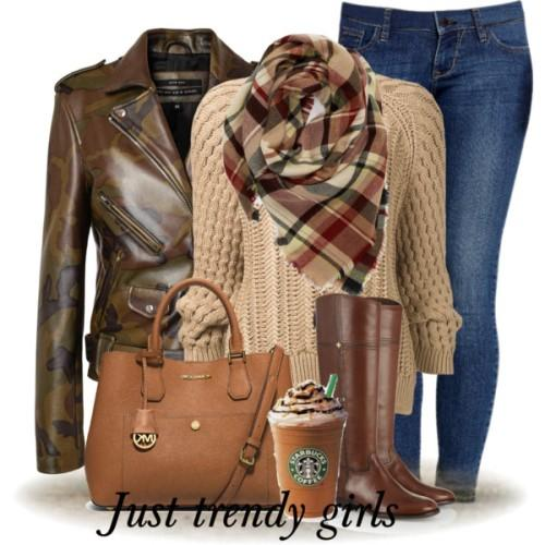brown leather jacket scarf outfit,