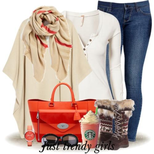 creamy poncho outfit,