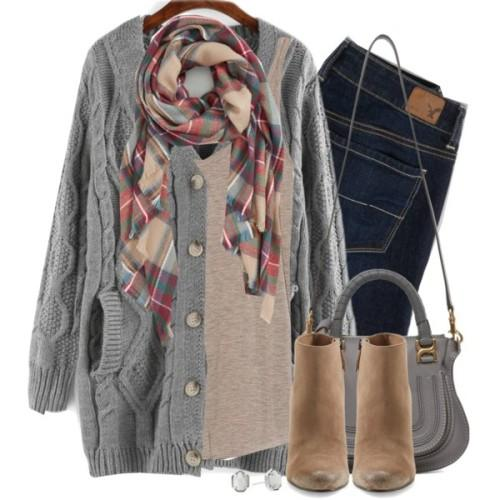 gray knit cardigan scarf outfit,
