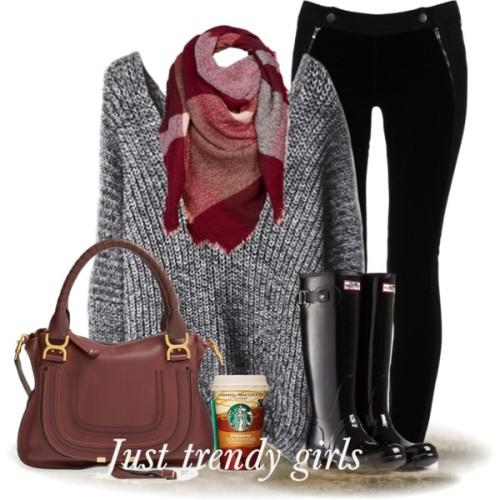 gray knit sweater scarf outfit,