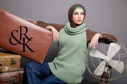 mint sweater hijab winter look