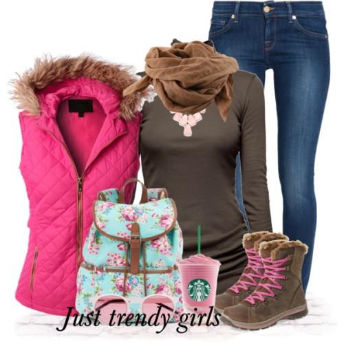 pink puffer vest girly outfit,