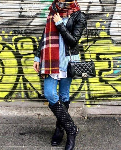 plaid scarf hijab look