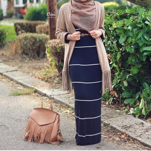 striped long hijab dress