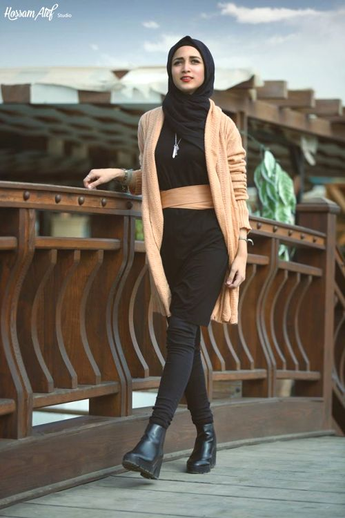 tan long cardigan hijab style