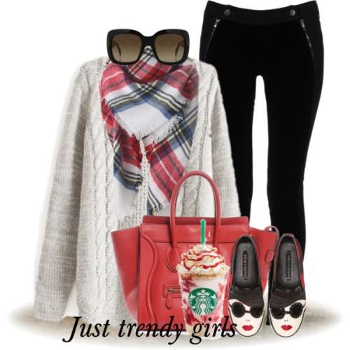 white sweater plaid scarf outfit,