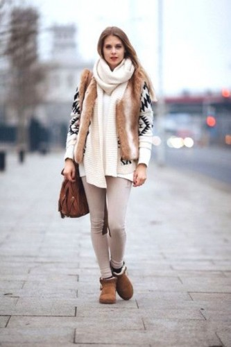 Aztec cardigan with fur vest