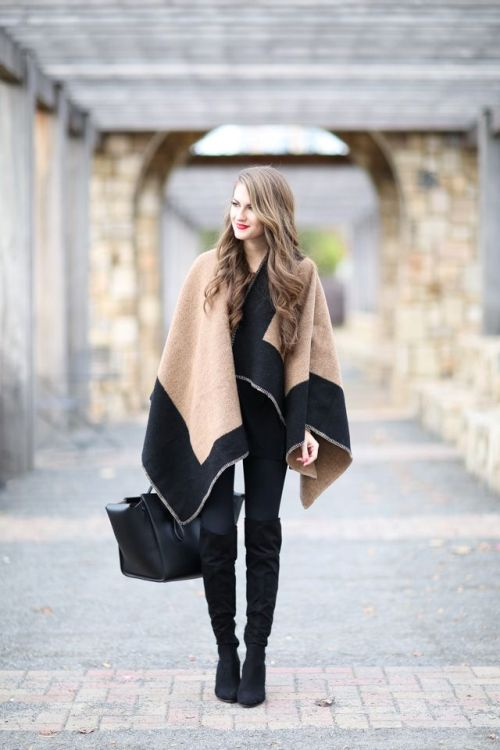 beige and black blanket poncho
