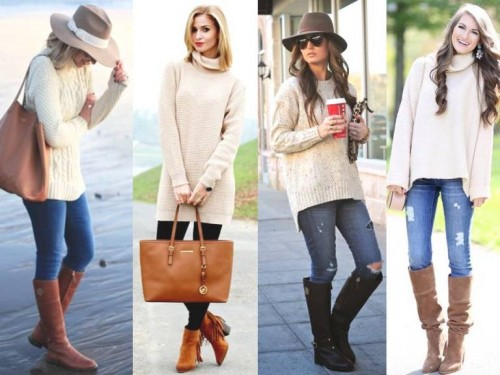 beige sweater outfits