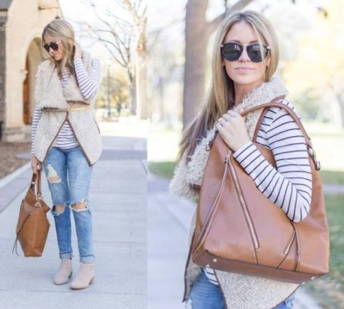 beige vest outfit