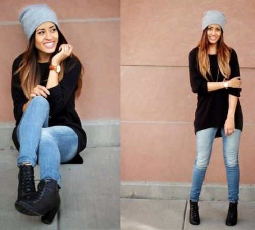 black sweater street style outfit