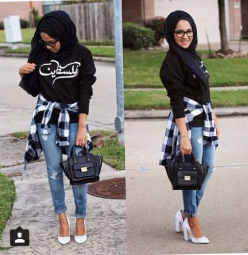 black sweater with flannel hijab