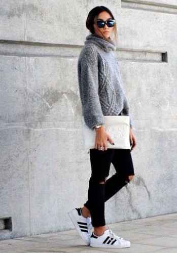 chunky gray sweater sporty style