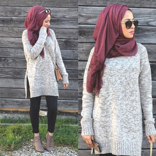 chunky sweater with hijab