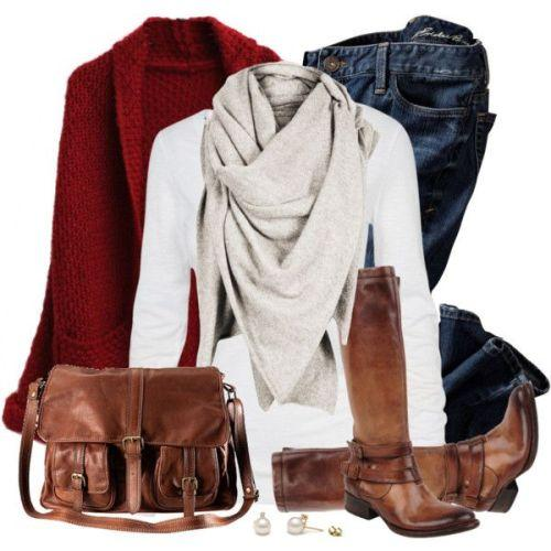 cognac jacket scarf outfit