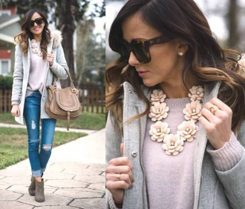 flower statement necklace outfit