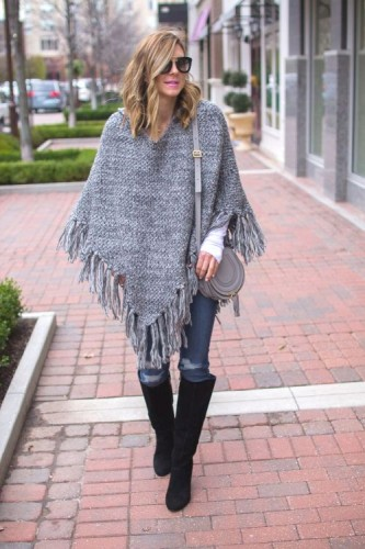 fringe cape poncho outfit