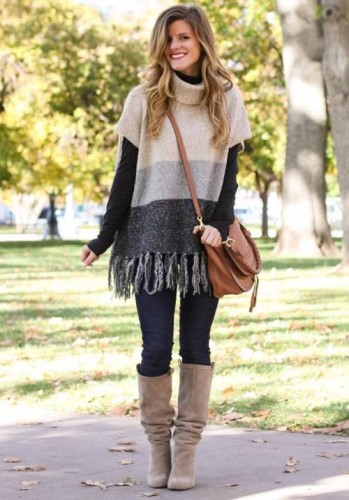 fringe neutral sweater outfit