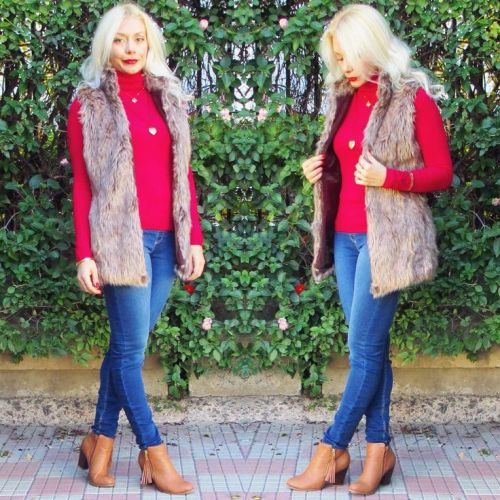 fur vest red shirt outfit