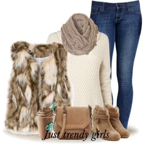 fur vest white sweater outfit