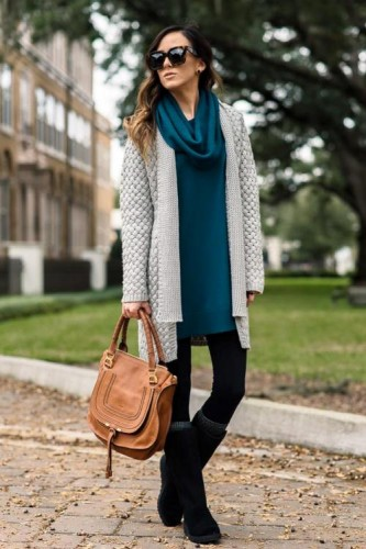 gray knit cardigan outft