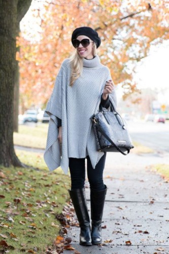 gray poncho outfit