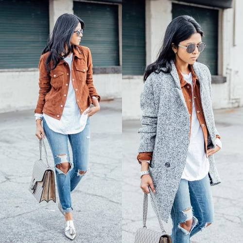 gray winter coat outfit