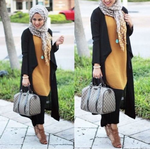 hijab style long black coat