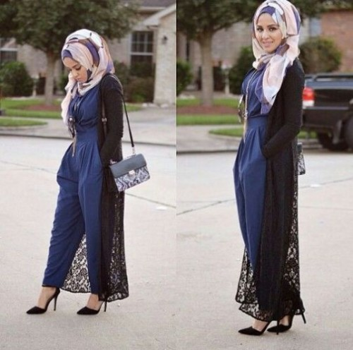 long lace cardigan hijab look