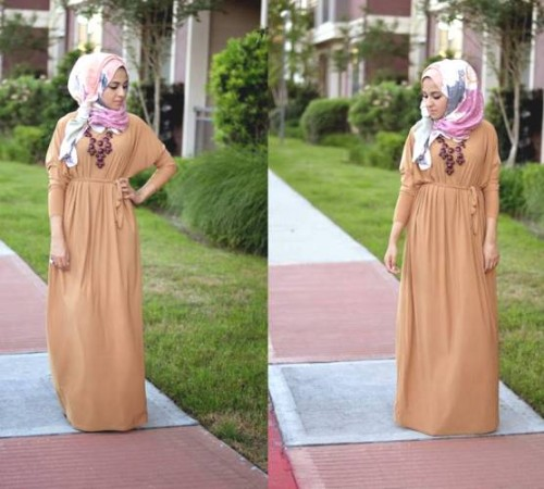 long maxi dress hijab style