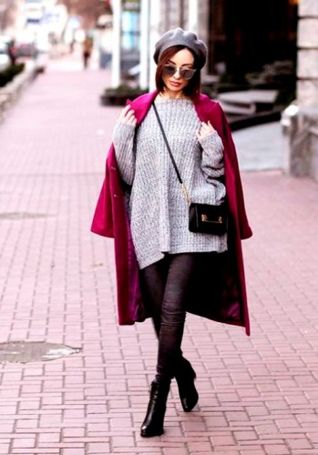 maroon coat with gray sweater