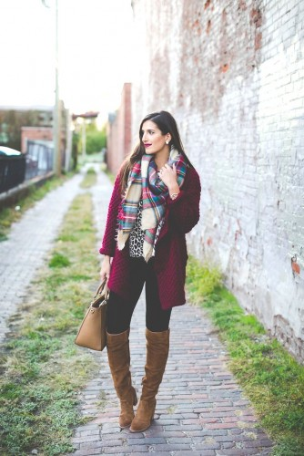 maroon long coat outfit