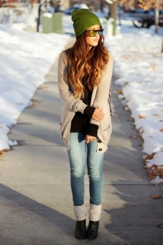 neutral cardigan with black top