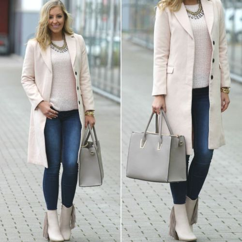 neutral coat street look