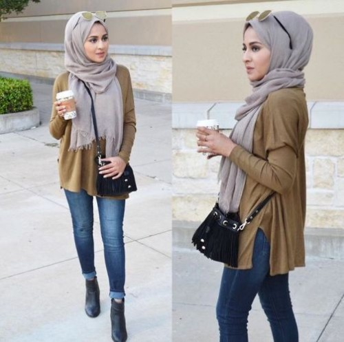 olive blouse with jeans