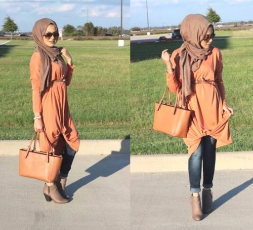 orange tunic hijab style