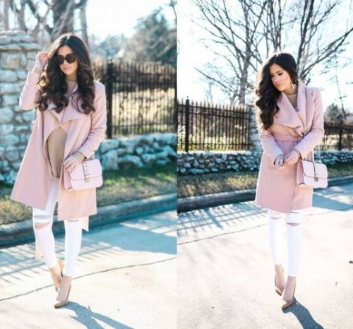pink classy coat outfit