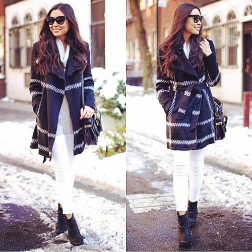 plaid trench coat outfit
