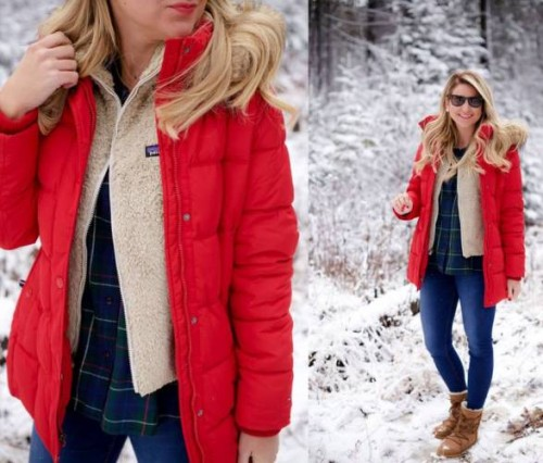 puffer coat snow look