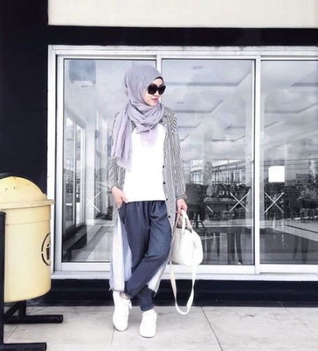 stripe long cardigan hijab style