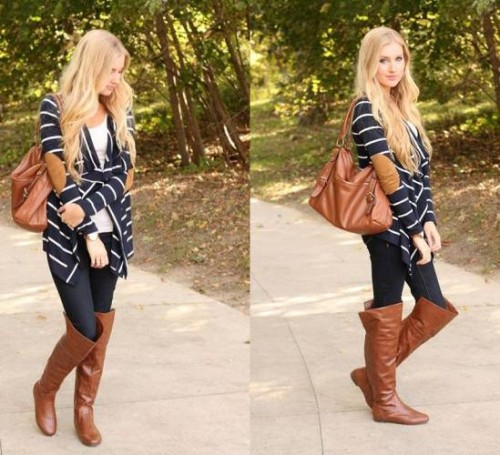 striped black cardigan outfit