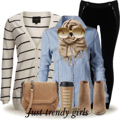 striped cardigan denim shirt outfit