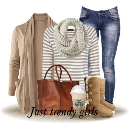 striped tee cardigan outfit