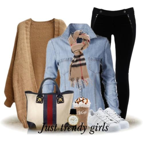 tan cardigan denim shirt outfit