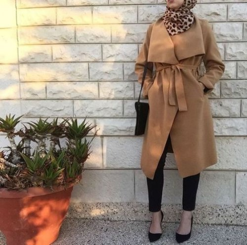 tan coat hijab outfit