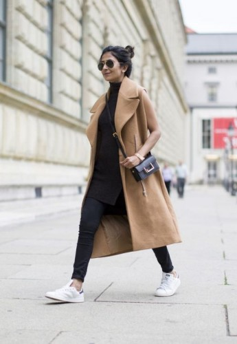 tan coat sporty outfit