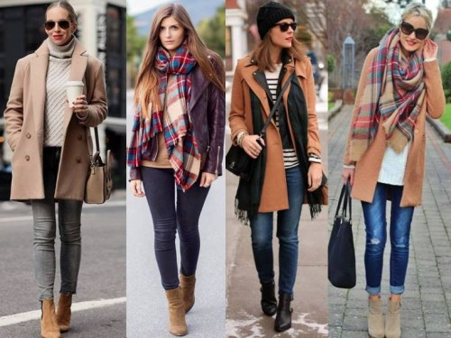 tan coats with scarves