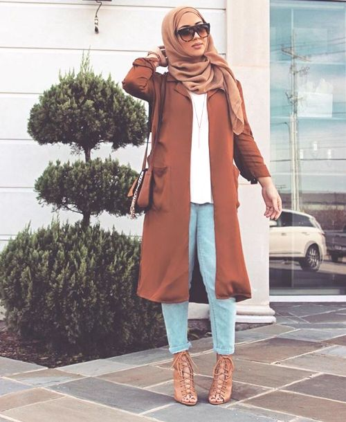 tan hijab coat outfit