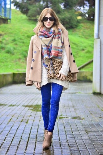 tan jacket with scarf outfit